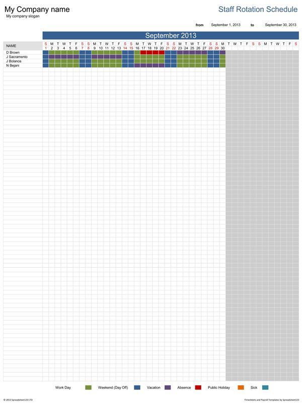Staff Rotation Schedule   Free Template for Excel