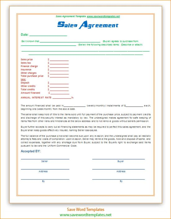 4+ sales agreement template | Outline Templates