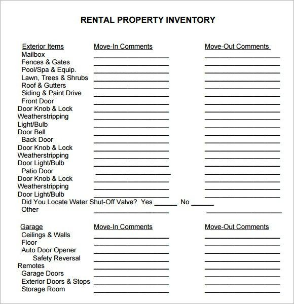 Land Inventory Template. Verification Of Household Property ...