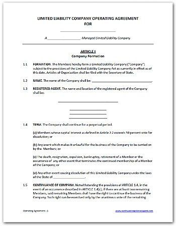 Free LLC operating agreement, available as a Word doc or PDF | DIY ...