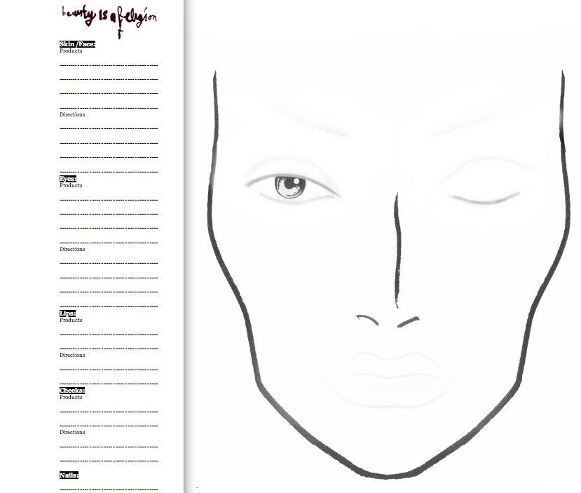 Blank Mac Face Charts Printable | maquillajes | Pinterest | Face ...