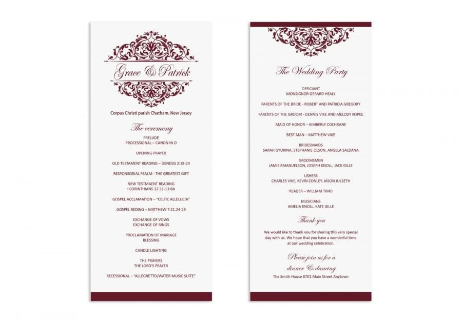 Wedding Program Template - Printable Wedding Program - Wedding ...
