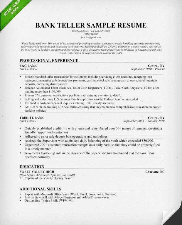 resumes for bank tellers