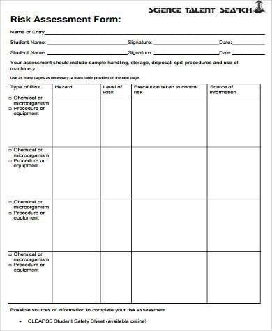 Sample Safety Risk Assessment Forms - 8+ Free Documents in Word, PDF