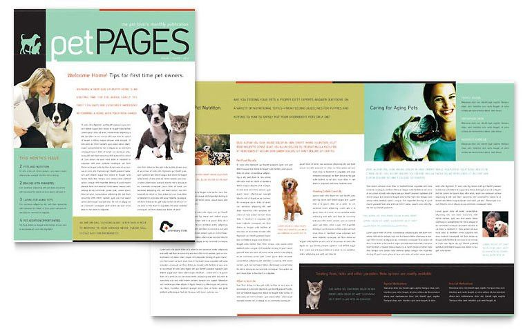 Veterinary Clinic Newsletter Template - Word & Publisher