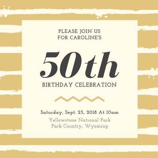 50th Birthday Invitation Templates - Canva