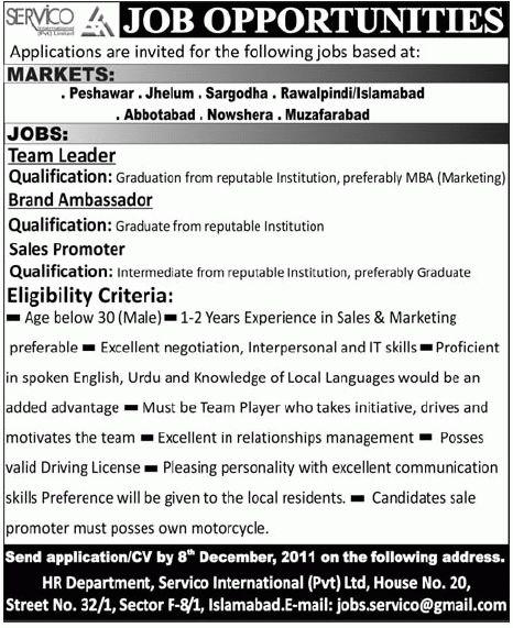 SERVICO International Job, Team Leader, Brand Ambassador