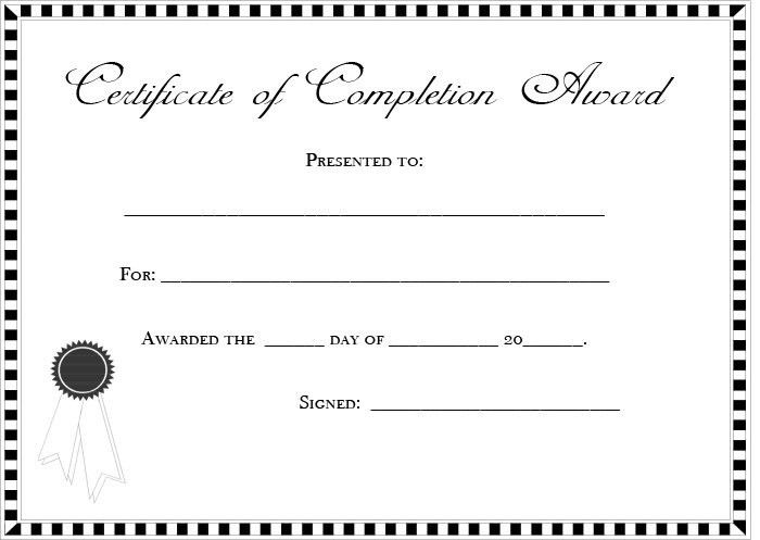 Blank and Editable Certificate of Completion Template Sample ...