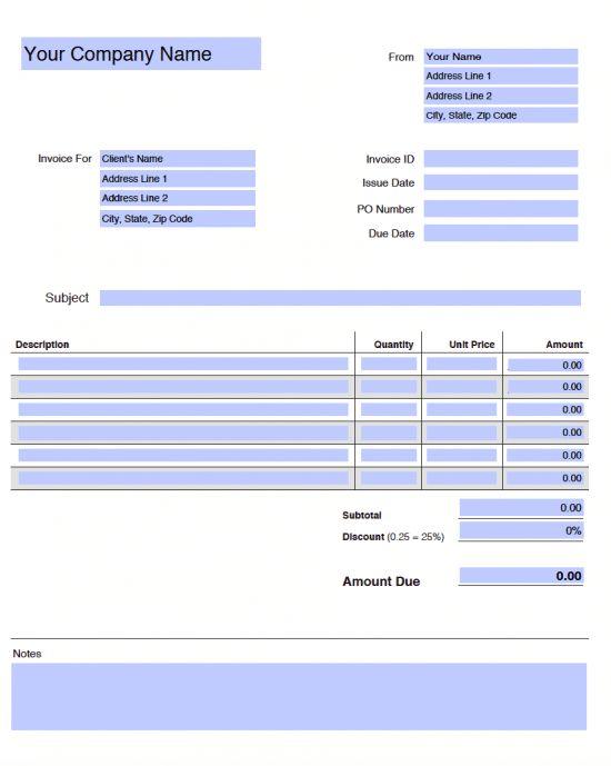 Free Blank Invoice Templates in Adobe PDF (.pdf)