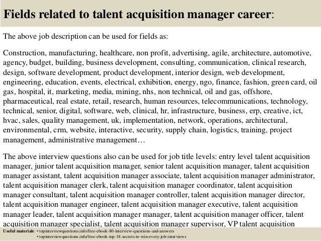 Top 10 talent acquisition manager interview questions and answers