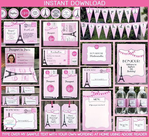 Birthday Party in Paris Invitations & Printable Collection