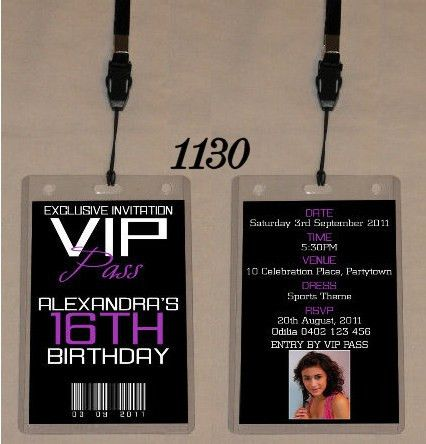 ANY AGE BIRTHDAY VIP PASS INVITATION & LANYARD - DOUBLE SIDED ...