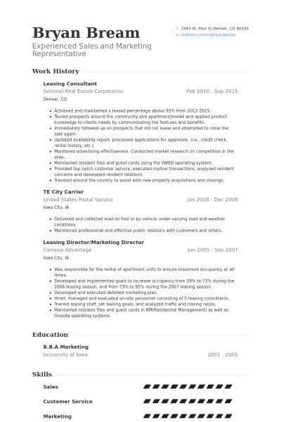 leasing consultant resume sample