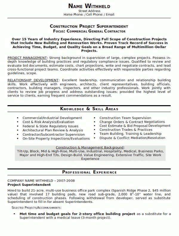 Construction Supervisor Resume Sample - http://www.resumecareer ...