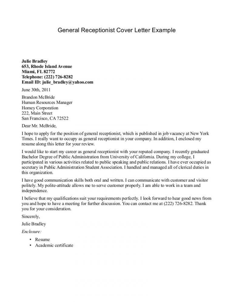 Winsome Design Receptionist Cover Letter 9 Example - CV Resume Ideas