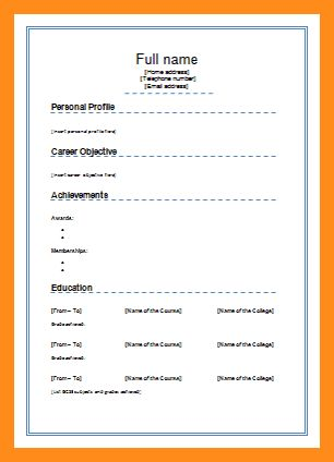 5+ normal cv format download - mystock clerk