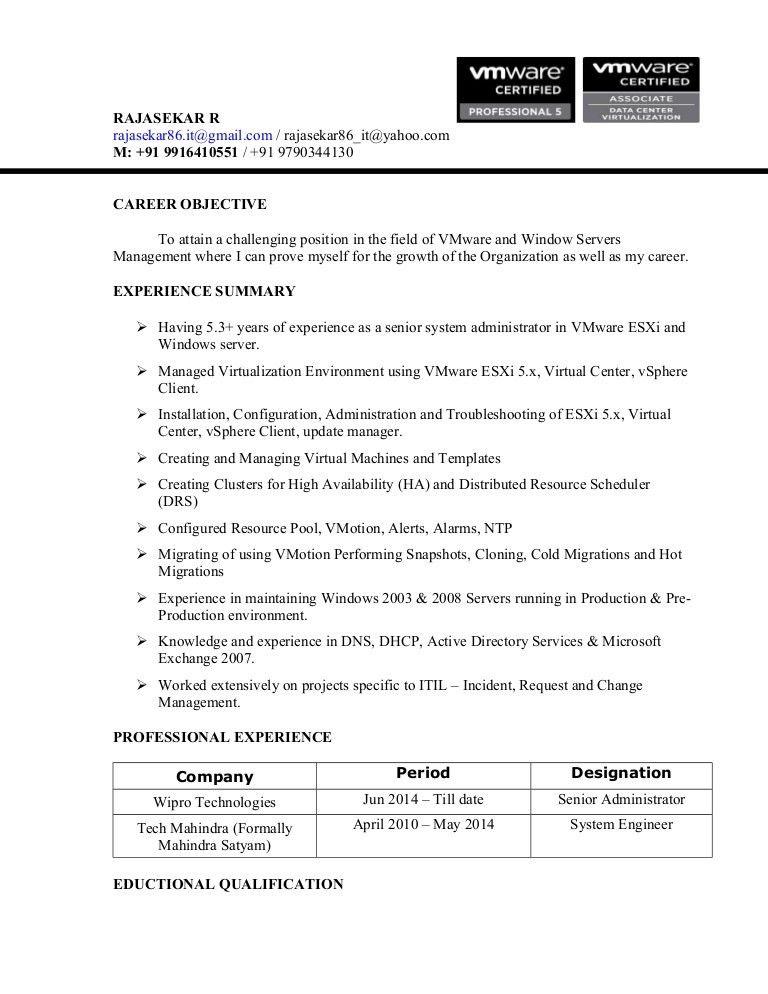Rajasekar Resume-VMware Administrators