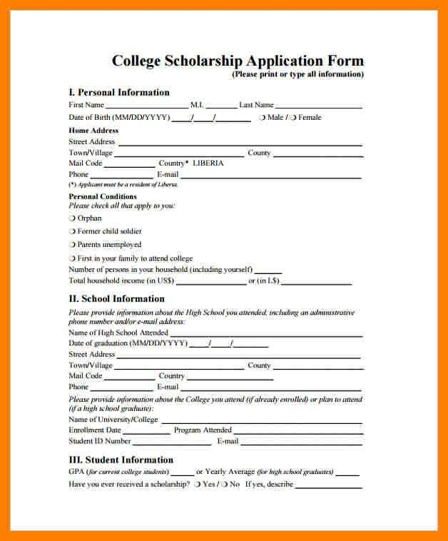 Free School Application Form [Template.billybullock.us ]