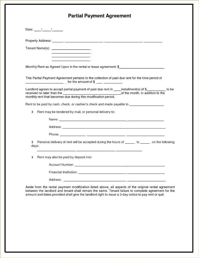Partial Payment Agreement Template | TemplateZet