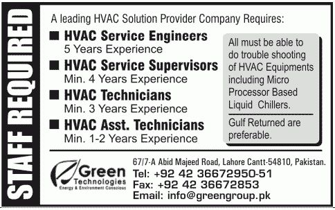 Green Technologies Lahore Jobs for HVAC Services Engineers