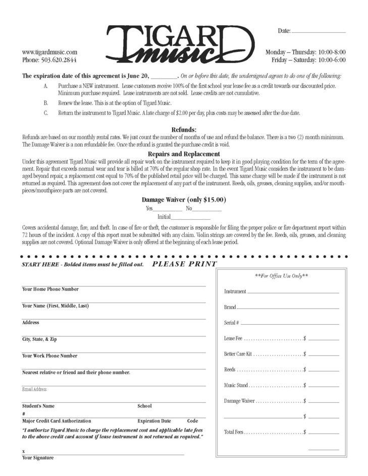 Free Download Blank Lease Agreement Sample of Music Instruments ...