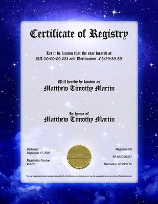 10 Best Images of Name A Star Certificate Template - Star ...
