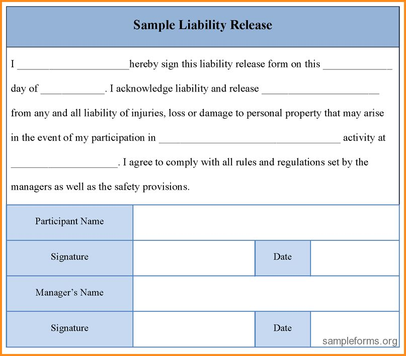 7+ liability release form template | mac resume template