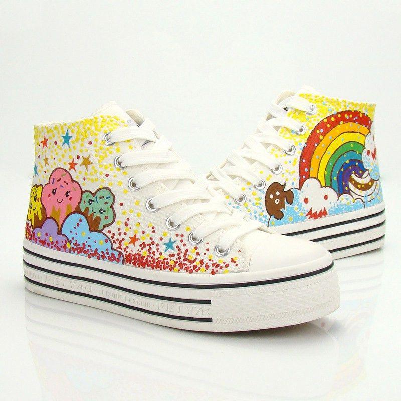 Cute sweet stars rainbow shoes SE0170 | Rainbow shoes, Harajuku ...