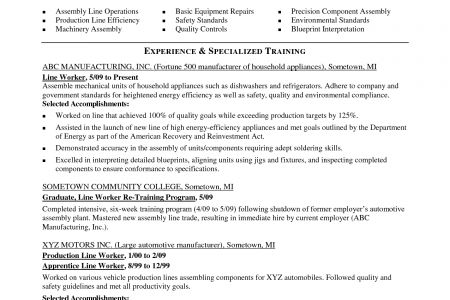 Manufacturing Production Worker Resume Sample - Reentrycorps