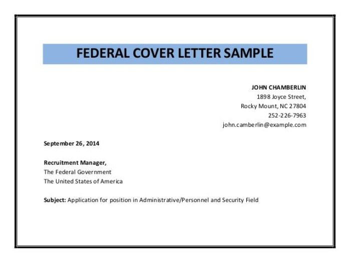 Usa Jobs Cover Letter