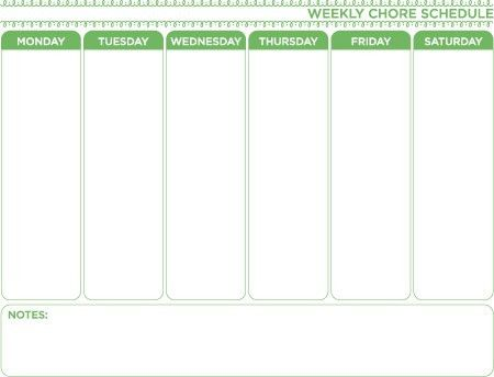 Weekly Chore Chart Template - Free Download - Home Organization ...