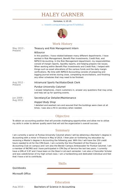 Management Intern Resume samples - VisualCV resume samples database