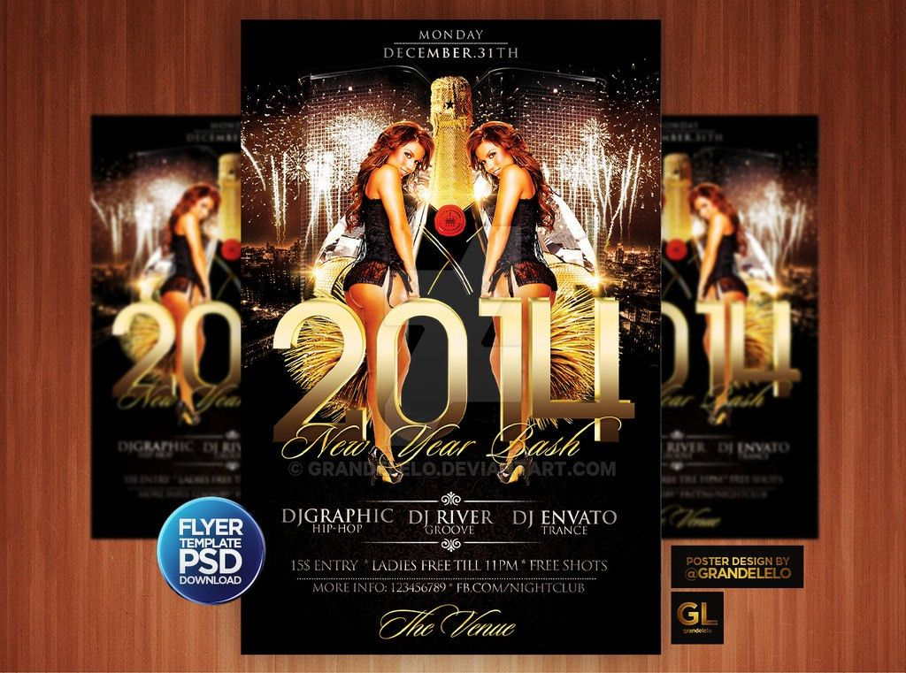 2014 New Year Party Flyer Template by Grandelelo on DeviantArt