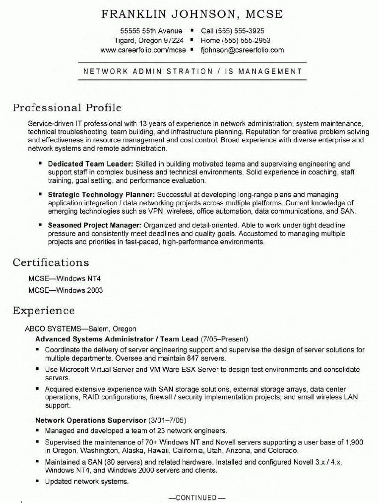 Download Windows Sys Administration Sample Resume ...