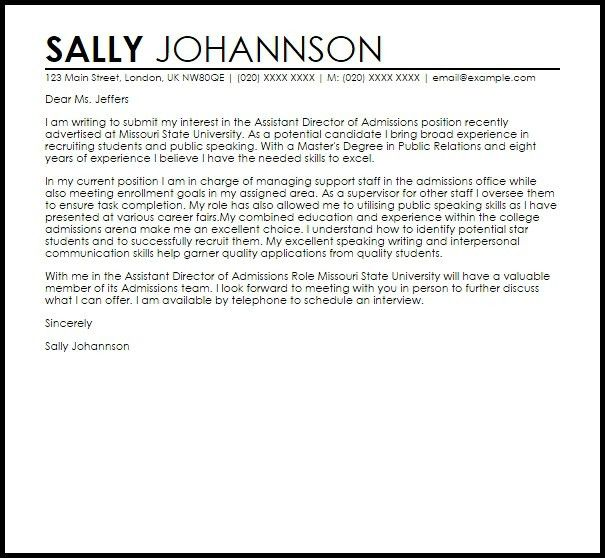 Director Of Admissions Cover Letter | The Letter Sample