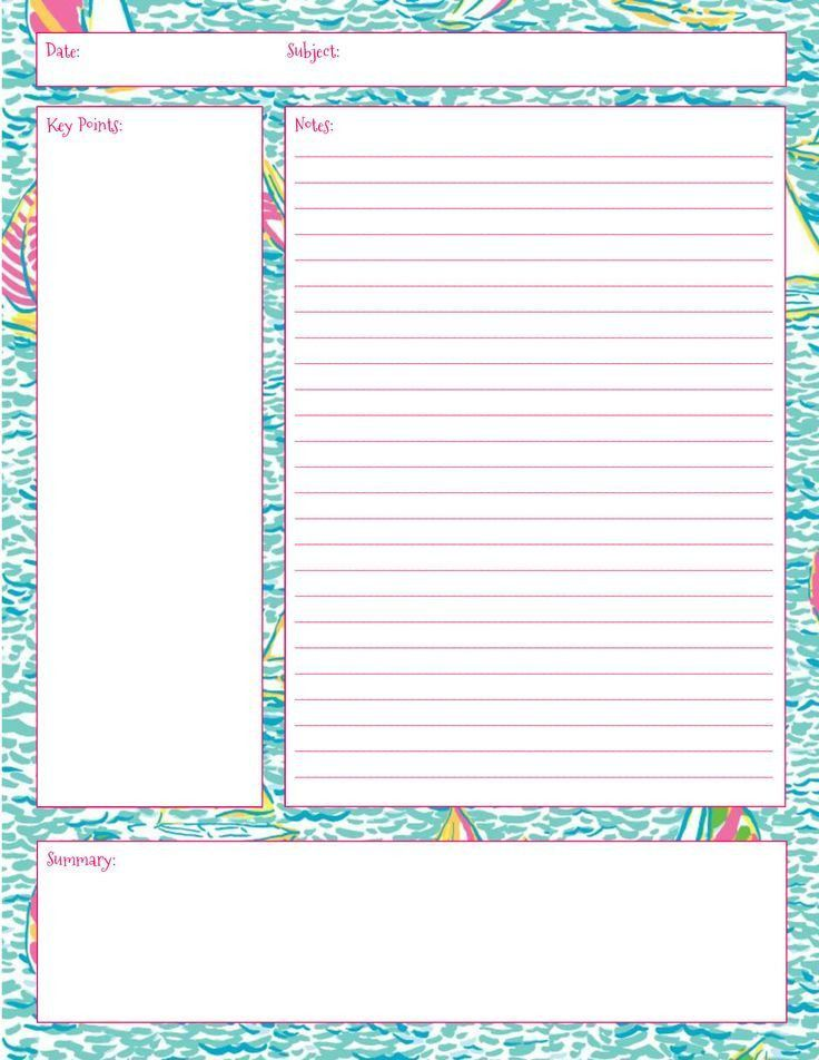 Lilly Note Taking Printables! Also in First Impression, Get Nauti ...