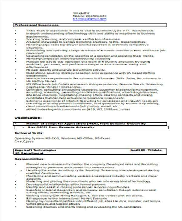 It Recruiter Resume Technical Recruiter Resume Example, Recruiter