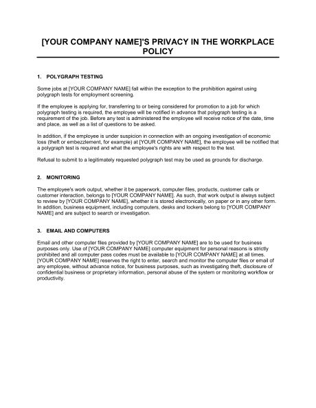 Policy on Privacy and Employee Monitoring - Template & Sample Form ...