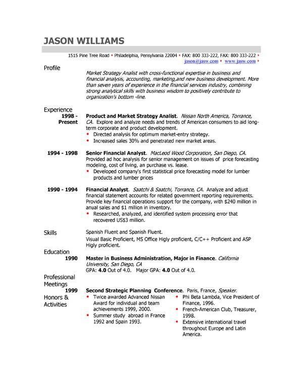 resume with profile statement