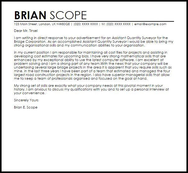 Assistant Quantity Surveyor Cover Letter Sample   LiveCareer