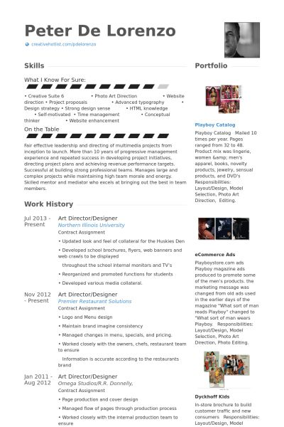 Art Director Resume samples - VisualCV resume samples database