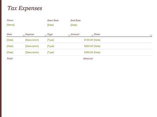 Tax expense journal - Office Templates