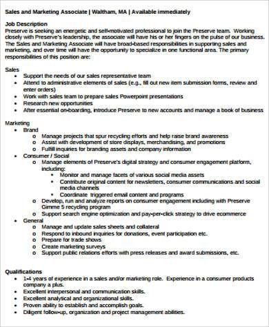 Sales and Marketing Job Description Sample - 9+ Examples in Word, PDF