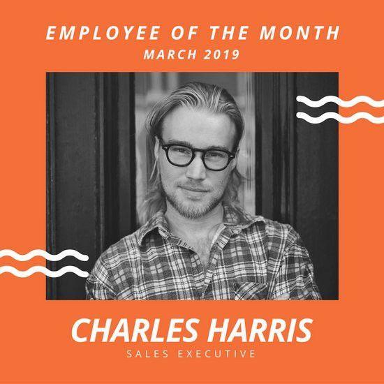 Orange Minimal Employee of the Month Social Media Graphic ...