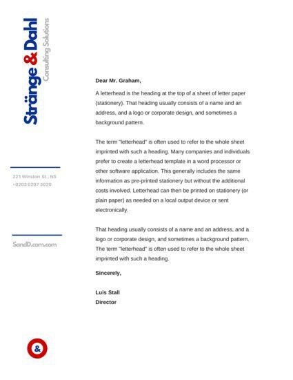 Business Letterhead. Corporate Company Business Letterhead ...