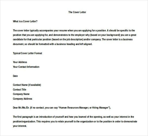 Typical cover letter