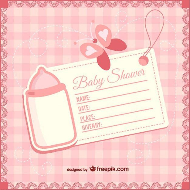 Baby shower girly invitation Vector   Free Download