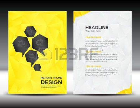 Yellow Cover Annual Report Template,polygon Background,brochure ...