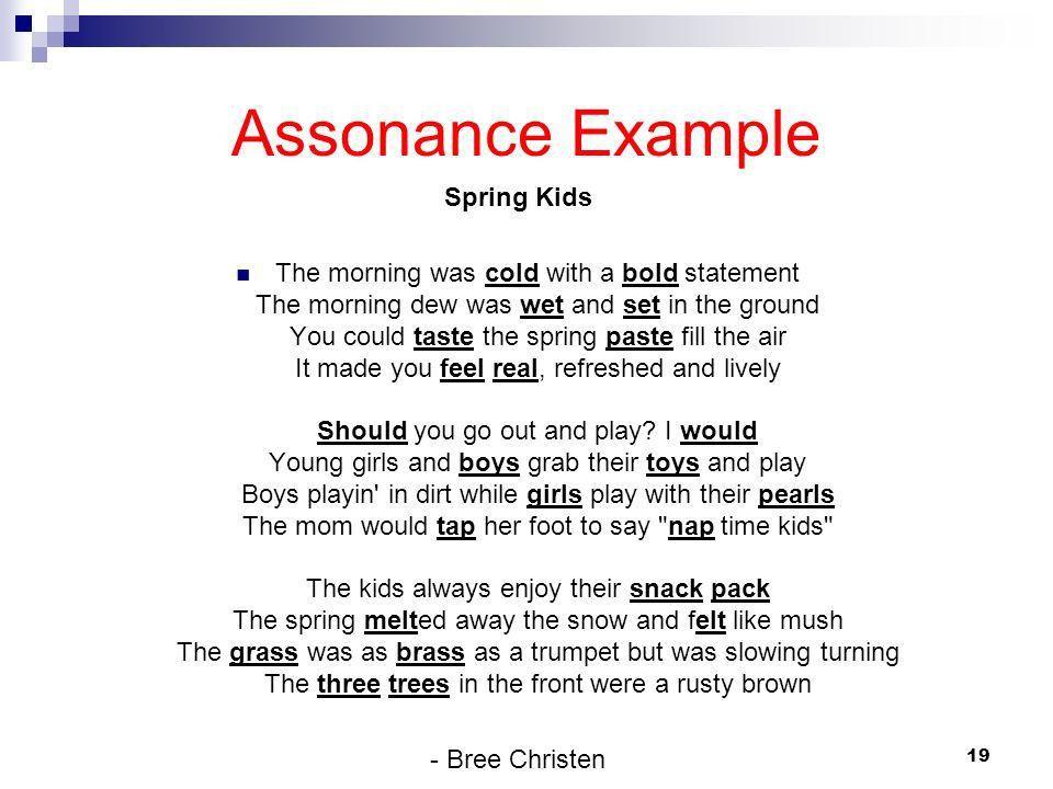 Examples of #Assonance #literaryelements #literarytechniques ...