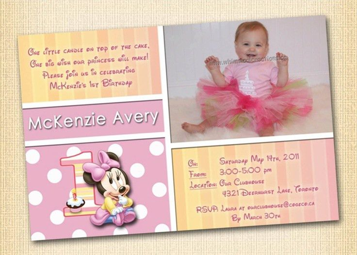 Free Printable Minnie Mouse 1st Birthday Invitations | Drevio ...
